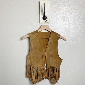 Western Wear Women's Tan Leather Fringe Vest